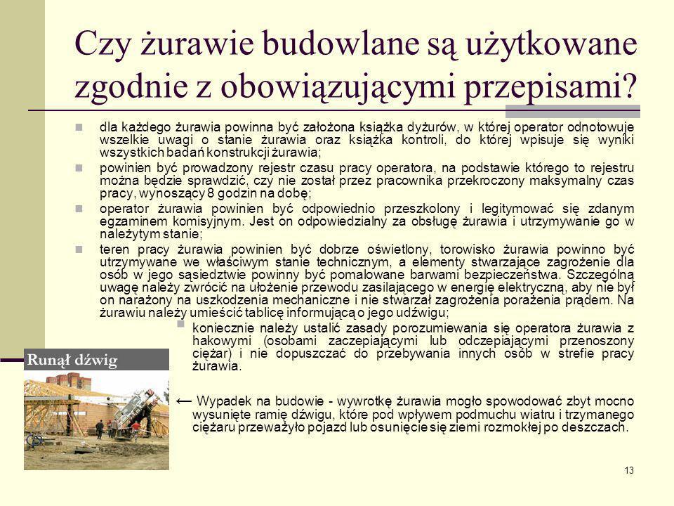 13 Czy żurawie budowlane są użytkowane zgodnie z obowiązującymi przepisami? dla każdego żurawia powinna być założona książka dyżurów, w której operato