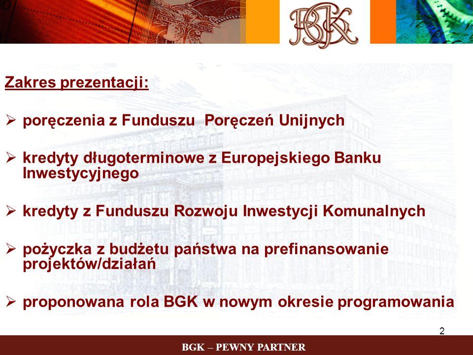 BGK – PEWNY PARTNER 2 Zakres prezentacji: poręczenia z Funduszu Poręczeń Unijnych kredyty długoterminowe z Europejskiego Banku Inwestycyjnego kredyty