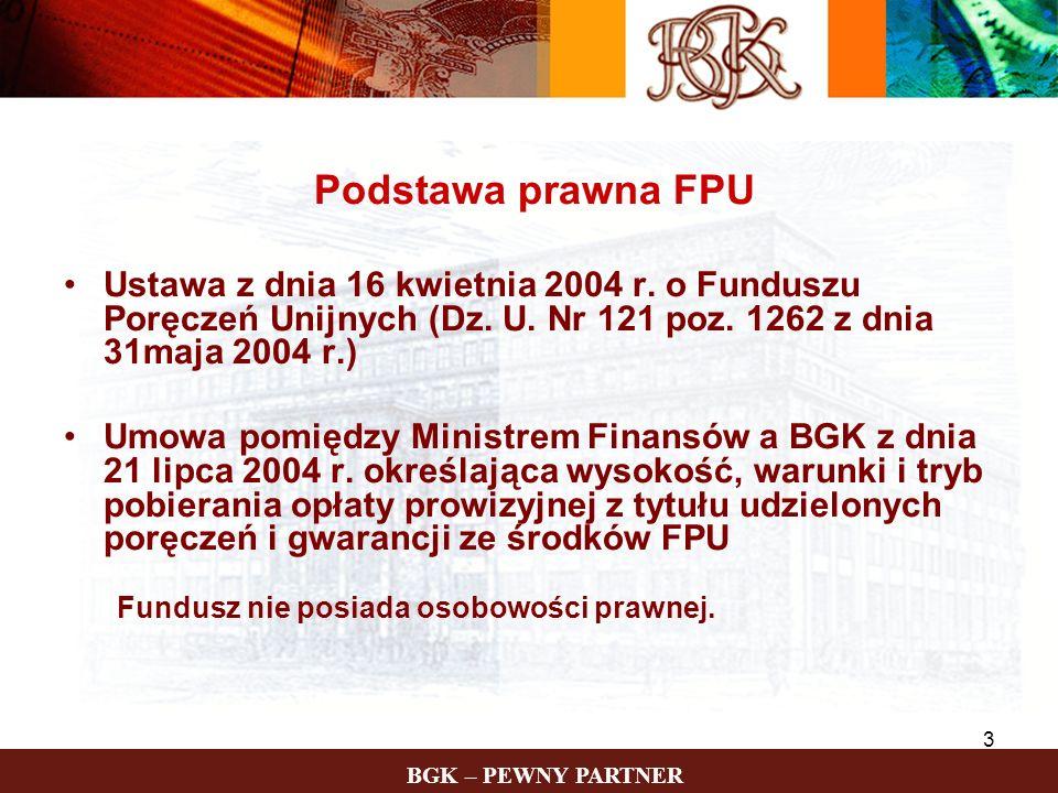 BGK – PEWNY PARTNER 3 Podstawa prawna FPU Ustawa z dnia 16 kwietnia 2004 r. o Funduszu Poręczeń Unijnych (Dz. U. Nr 121 poz. 1262 z dnia 31maja 2004 r