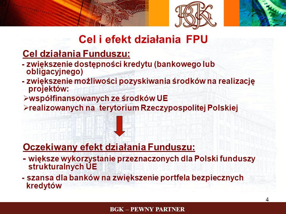 BGK – PEWNY PARTNER 4 Cel i efekt działania FPU Cel działania Funduszu: - zwiększenie dostępności kredytu (bankowego lub obligacyjnego) - zwiększenie