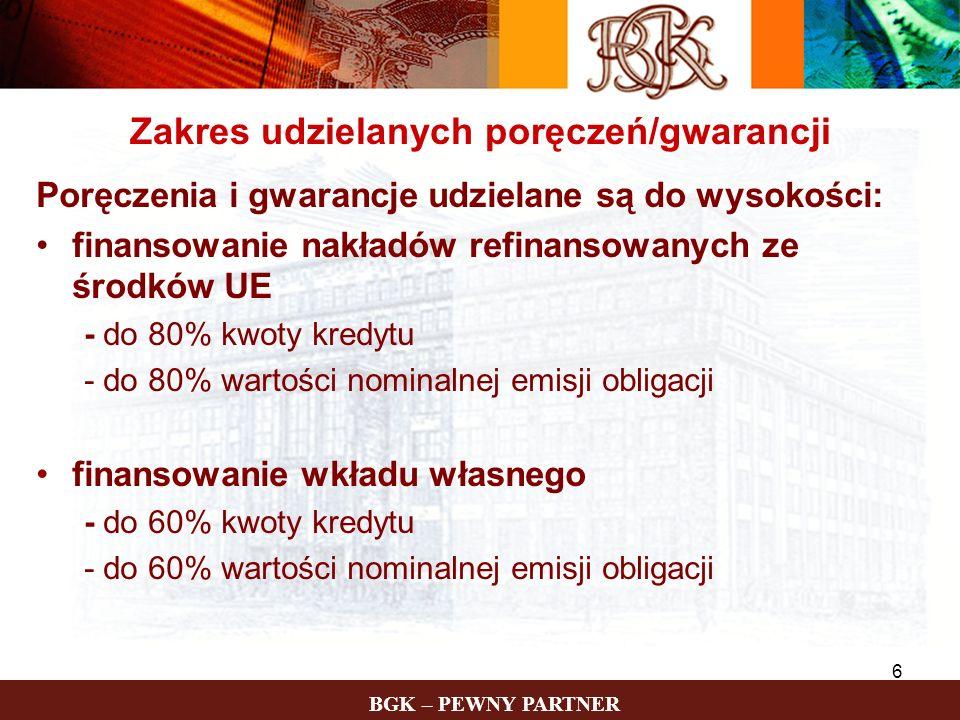BGK – PEWNY PARTNER 6 Zakres udzielanych poręczeń/gwarancji Poręczenia i gwarancje udzielane są do wysokości: finansowanie nakładów refinansowanych ze