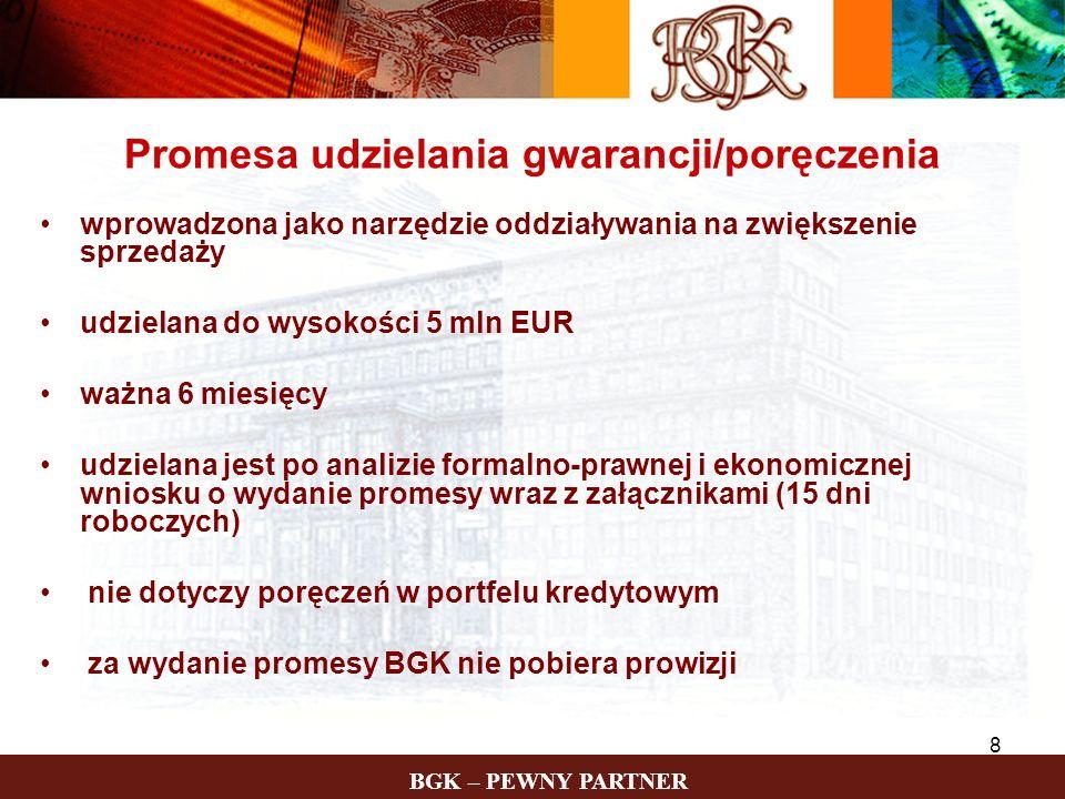 BGK – PEWNY PARTNER 8 Promesa udzielania gwarancji/poręczenia wprowadzona jako narzędzie oddziaływania na zwiększenie sprzedaży udzielana do wysokości