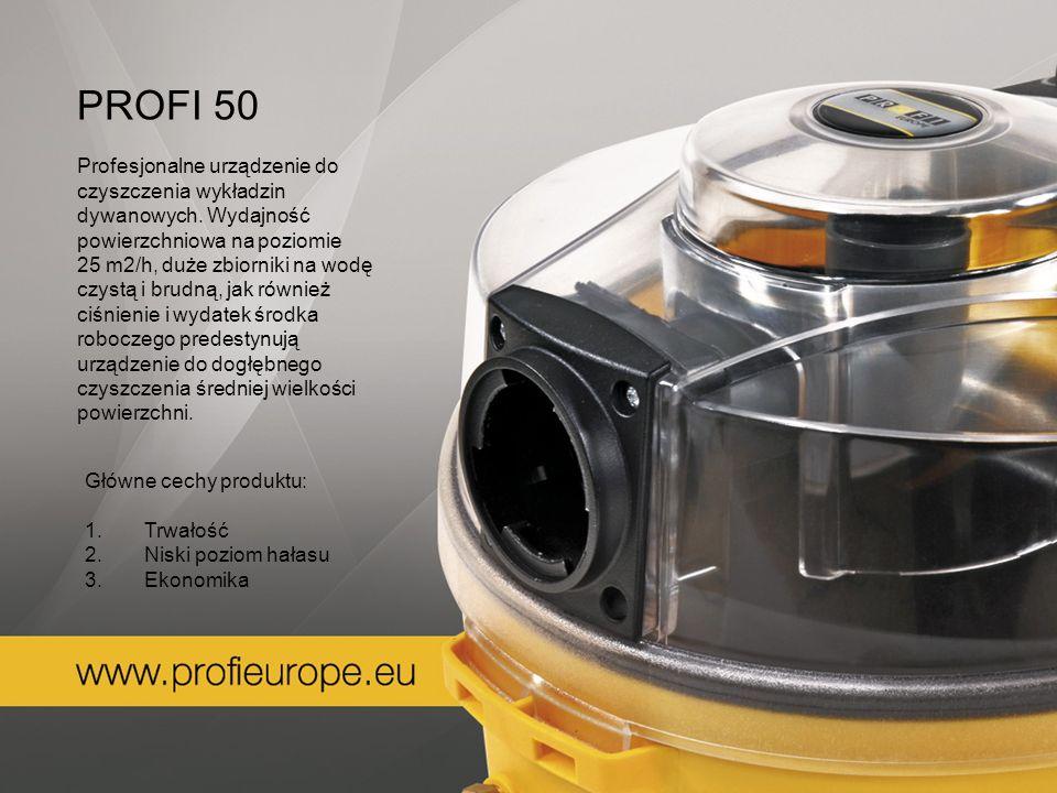PROFI 50 Profesjonalne urządzenie do czyszczenia wykładzin dywanowych. Wydajność powierzchniowa na poziomie 25 m2/h, duże zbiorniki na wodę czystą i b
