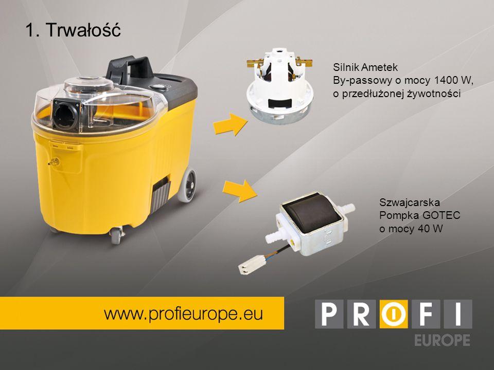 Szwajcarska Pompka GOTEC o mocy 40 W 1. Trwałość Silnik Ametek By-passowy o mocy 1400 W, o przedłużonej żywotności