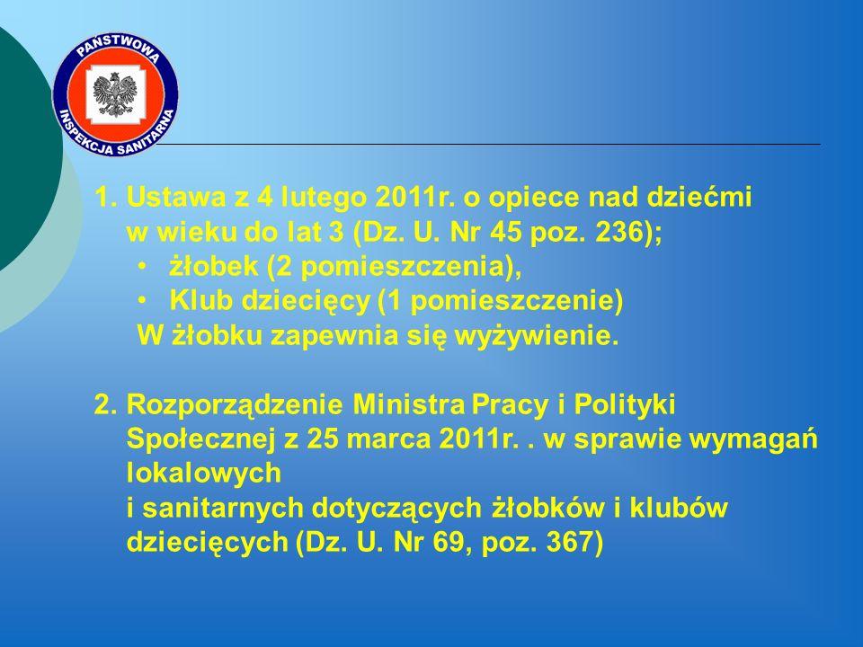 1.Ustawa z 4 lutego 2011r.o opiece nad dziećmi w wieku do lat 3 (Dz.