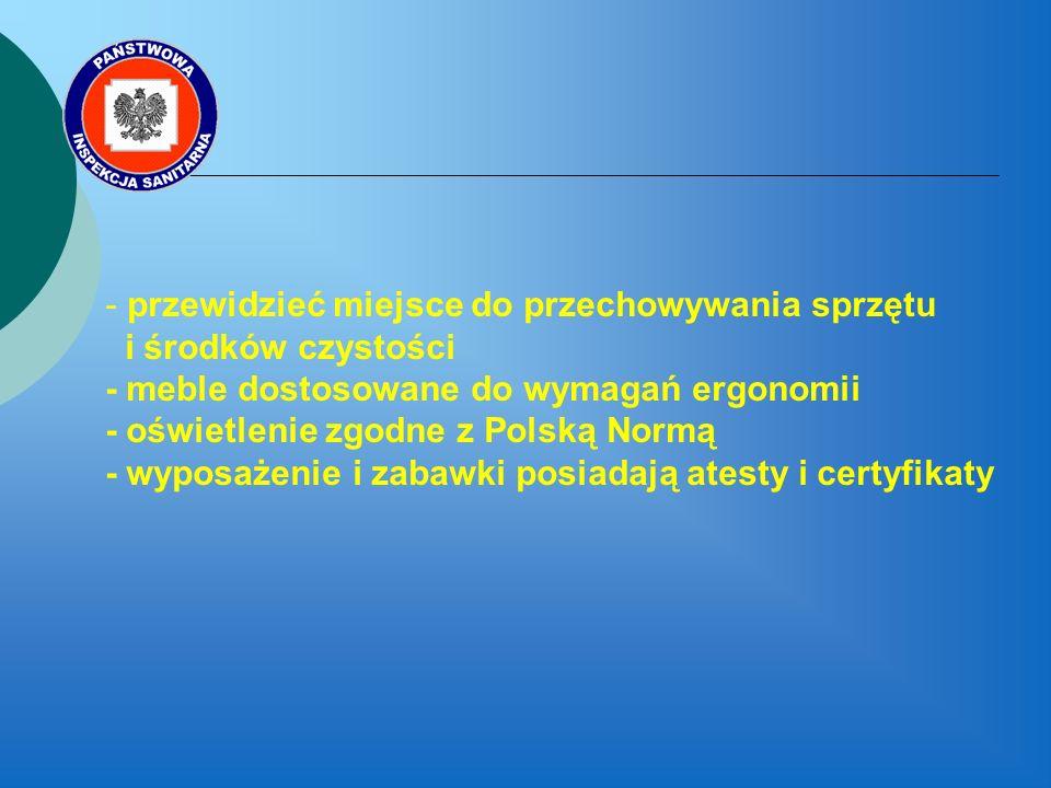 - przewidzieć miejsce do przechowywania sprzętu i środków czystości - meble dostosowane do wymagań ergonomii - oświetlenie zgodne z Polską Normą - wyposażenie i zabawki posiadają atesty i certyfikaty