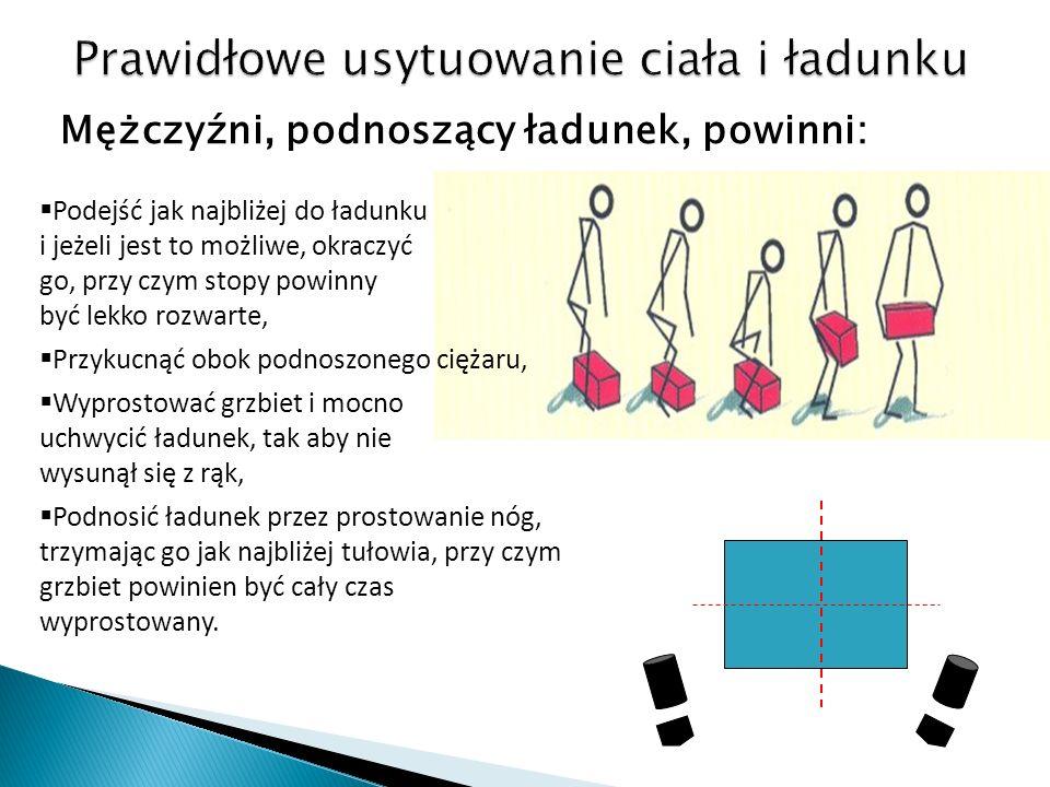 Mężczyźni, podnoszący ładunek, powinni: Podejść jak najbliżej do ładunku i jeżeli jest to możliwe, okraczyć go, przy czym stopy powinny być lekko rozwarte, Przykucnąć obok podnoszonego ciężaru, Wyprostować grzbiet i mocno uchwycić ładunek, tak aby nie wysunął się z rąk, Podnosić ładunek przez prostowanie nóg, trzymając go jak najbliżej tułowia, przy czym grzbiet powinien być cały czas wyprostowany.