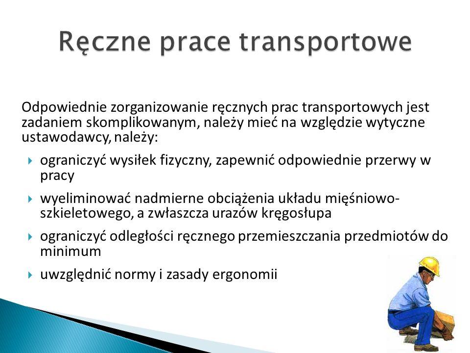 Odpowiednie zorganizowanie ręcznych prac transportowych jest zadaniem skomplikowanym, należy mieć na względzie wytyczne ustawodawcy, należy: ograniczyć wysiłek fizyczny, zapewnić odpowiednie przerwy w pracy wyeliminować nadmierne obciążenia układu mięśniowo- szkieletowego, a zwłaszcza urazów kręgosłupa ograniczyć odległości ręcznego przemieszczania przedmiotów do minimum uwzględnić normy i zasady ergonomii