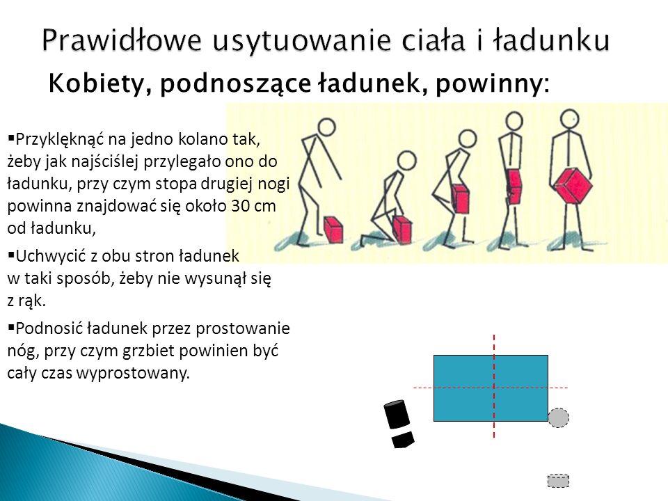 Kobiety, podnoszące ładunek, powinny: Przyklęknąć na jedno kolano tak, żeby jak najściślej przylegało ono do ładunku, przy czym stopa drugiej nogi powinna znajdować się około 30 cm od ładunku, Uchwycić z obu stron ładunek w taki sposób, żeby nie wysunął się z rąk.