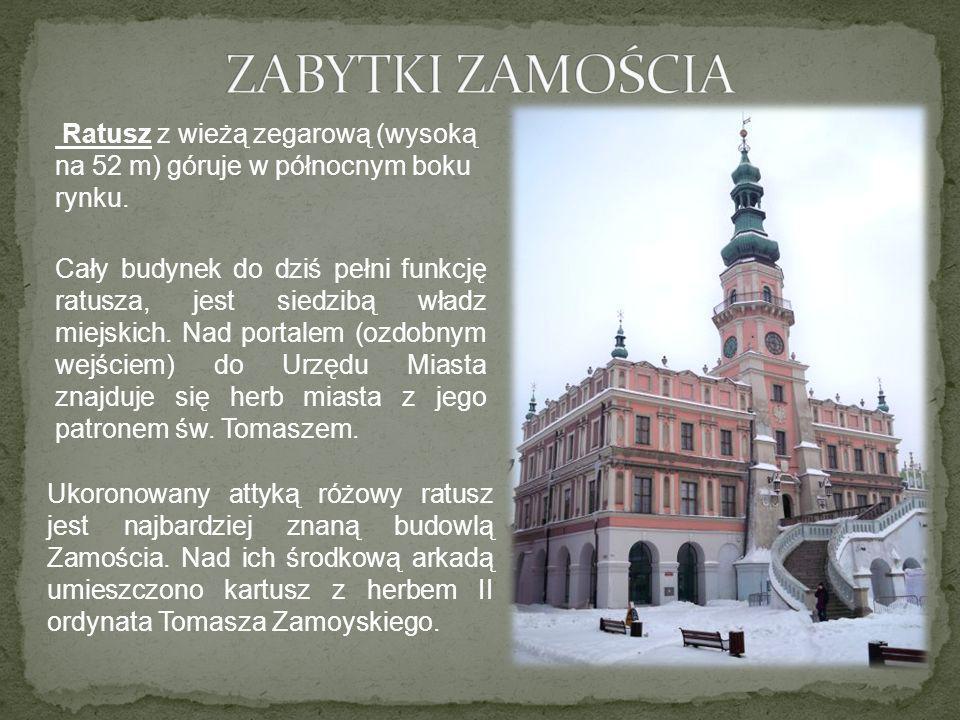 Kamienice Kamienice z podcieniami (arkadami) to najbardziej charakterystyczna cecha architektury Zamościa, zwanego z tego powodu miastem arkad .