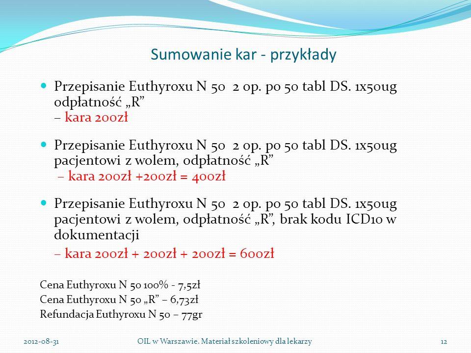 Sumowanie kar - przykłady Przepisanie Euthyroxu N 50 2 op.