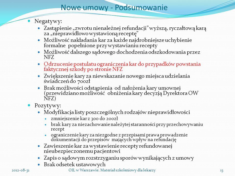 Nowe umowy - Podsumowanie Negatywy: Zastąpienie zwrotu nienależnej refundacji wyższą, ryczałtową karą za nieprawidłowo wystawioną receptę Możliwość nakładania kar za każde najdrobniejsze uchybienie formalne popełnione przy wystawianiu recepty Możliwość dalszego sądowego dochodzenia odszkodowania przez NFZ Odrzucenie postulatu ograniczenia kar do przypadków powstania faktycznej szkody po stronie NFZ Zwiększenie kary za niewskazanie nowego miejsca udzielania świadczeń do 700zł Brak możliwości odstąpienia od nałożenia kary umownej (przewidziano możliwość obniżenia kary decyzją Dyrektora OW NFZ) Pozytywy: Modyfikacja listy poszczególnych rodzajów nieprawidłowości zmniejszenie kar z 300 do 200zł brak kary za niezachowanie należytej staranności przy przechowywaniu recept ograniczenie kary za niezgodne z przepisami prawa prowadzenie dokumentacji do przepisów mających wpływ na refundację Zawieszenie kar za wystawienie recepty refundowanej nieubezpieczonemu pacjentowi Zapis o sądowym rozstrzyganiu sporów wynikających z umowy Brak odsetek ustawowych OIL w Warszawie.