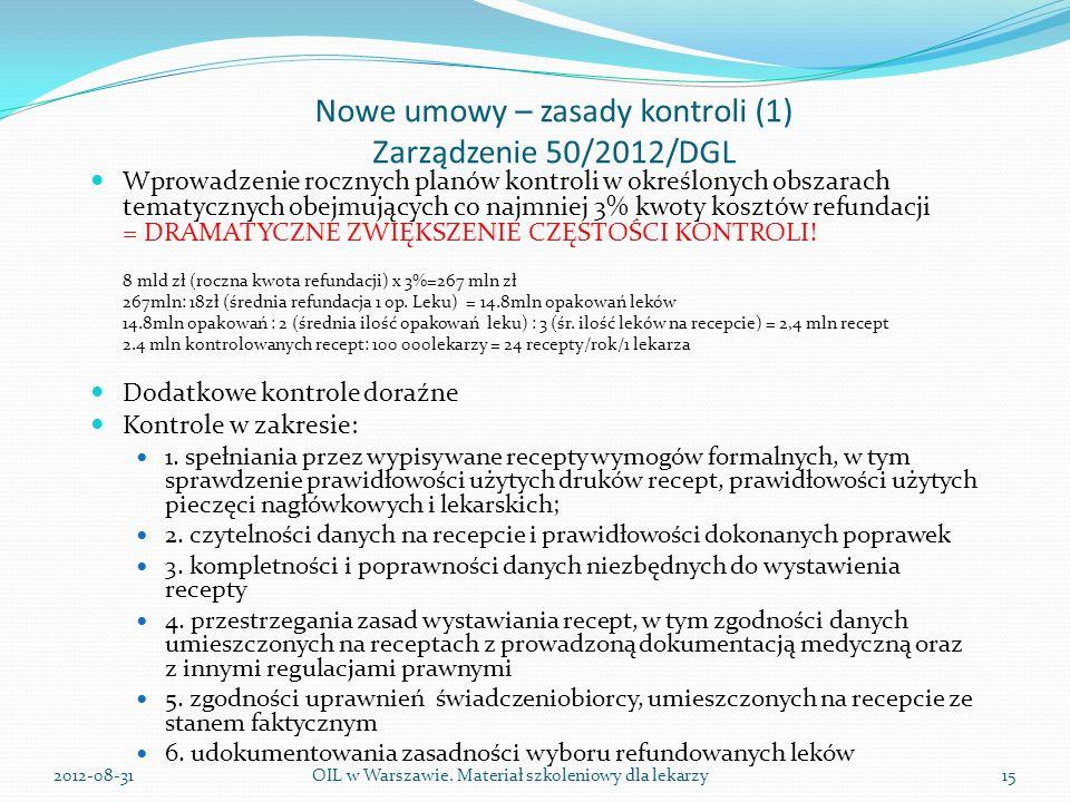 Nowe umowy – zasady kontroli (1) Zarządzenie 50/2012/DGL Wprowadzenie rocznych planów kontroli w określonych obszarach tematycznych obejmujących co najmniej 3% kwoty kosztów refundacji = DRAMATYCZNE ZWIĘKSZENIE CZĘSTOŚCI KONTROLI.