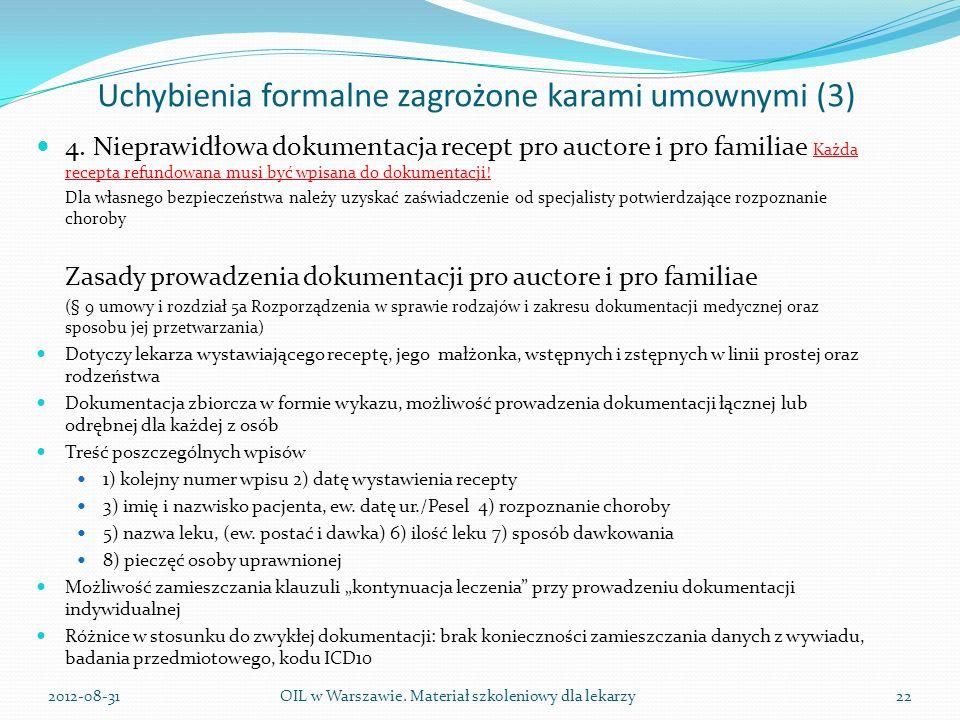 Uchybienia formalne zagrożone karami umownymi (3) 4.