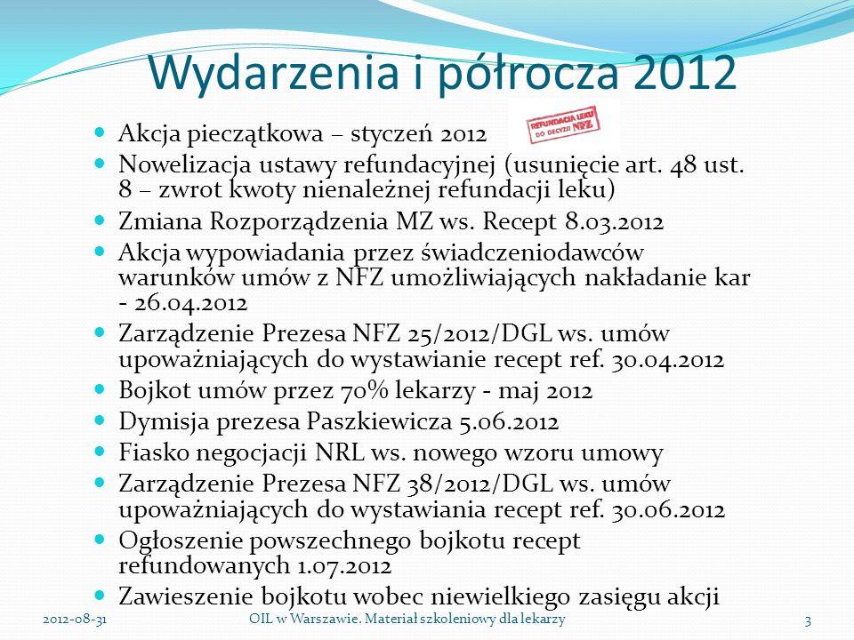 Wydarzenia i półrocza 2012 Akcja pieczątkowa – styczeń 2012 Nowelizacja ustawy refundacyjnej (usunięcie art.