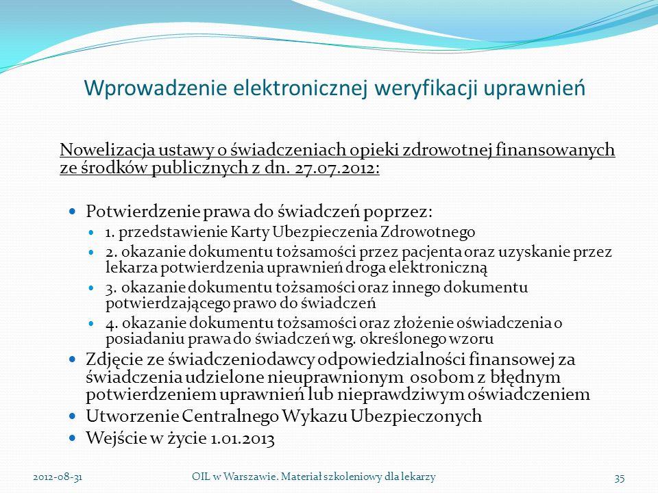 Wprowadzenie elektronicznej weryfikacji uprawnień Nowelizacja ustawy o świadczeniach opieki zdrowotnej finansowanych ze środków publicznych z dn.