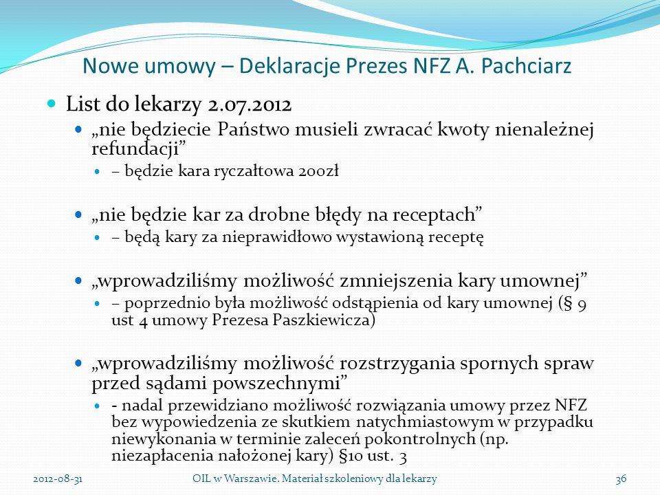 Nowe umowy – Deklaracje Prezes NFZ A.
