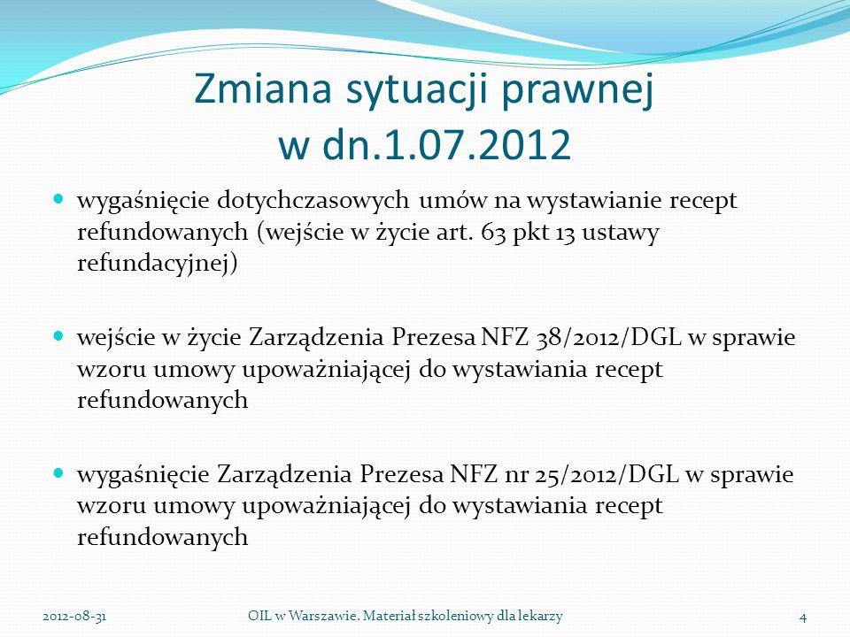 Zmiana sytuacji prawnej w dn.1.07.2012 wygaśnięcie dotychczasowych umów na wystawianie recept refundowanych (wejście w życie art.