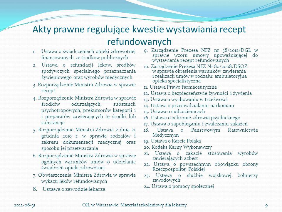 Akty prawne regulujące kwestie wystawiania recept refundowanych 1.Ustawa o świadczeniach opieki zdrowotnej finansowanych ze środków publicznych 2.