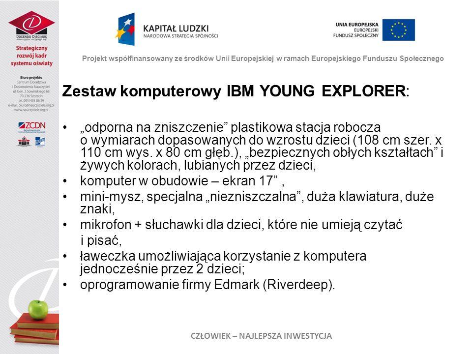 Zestaw komputerowy IBM YOUNG EXPLORER: odporna na zniszczenie plastikowa stacja robocza o wymiarach dopasowanych do wzrostu dzieci (108 cm szer. x 110