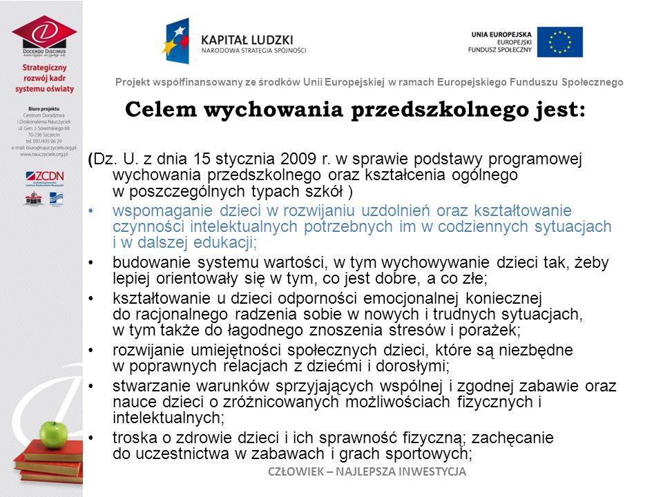 Celem wychowania przedszkolnego jest: (Dz. U. z dnia 15 stycznia 2009 r. w sprawie podstawy programowej wychowania przedszkolnego oraz kształcenia ogó