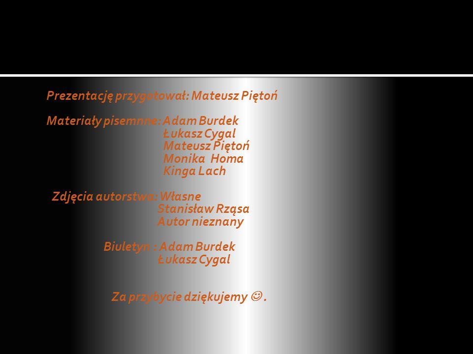 Prezentację przygotował: Mateusz Piętoń Materiały pisemnne: Adam Burdek Łukasz Cygal Mateusz Piętoń Monika Homa Kinga Lach Zdjęcia autorstwa: Własne S