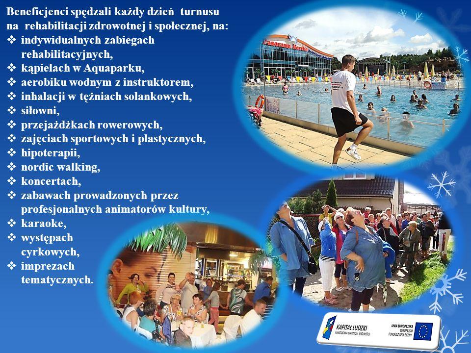 Beneficjenci spędzali każdy dzień turnusu na rehabilitacji zdrowotnej i społecznej, na: indywidualnych zabiegach rehabilitacyjnych, kąpielach w Aquapa