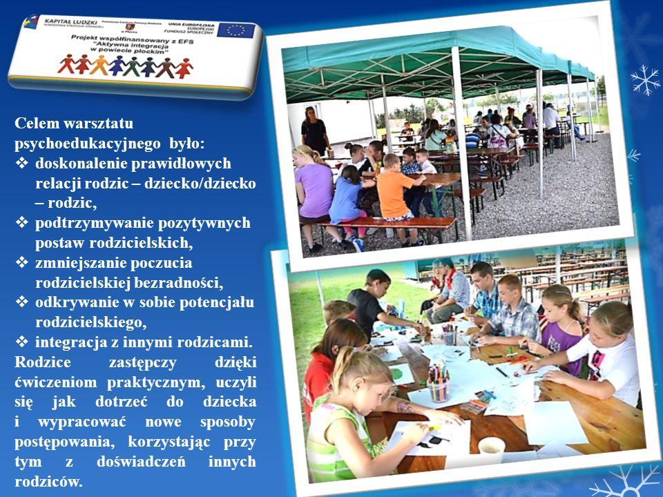 Celem warsztatu psychoedukacyjnego było: doskonalenie prawidłowych relacji rodzic – dziecko/dziecko – rodzic, podtrzymywanie pozytywnych postaw rodzic