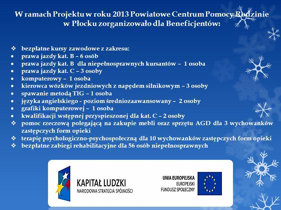 W ramach Projektu w roku 2013 Powiatowe Centrum Pomocy Rodzinie w Płocku zorganizowało dla Beneficjentów: bezpłatne kursy zawodowe z zakresu: prawa ja