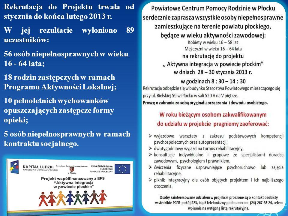 Rekrutacja do Projektu trwała od stycznia do końca lutego 2013 r. W jej rezultacie wyłoniono 89 uczestników: 56 osób niepełnosprawnych w wieku 16 - 64