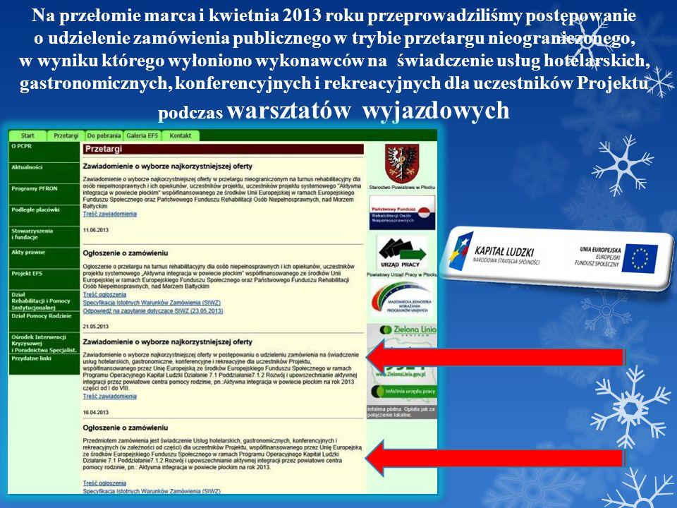 FOTOGALERIA Warsztaty z psychologiem i doradcą zawodowym dla Beneficjentów projektu Ciechocinek, 08-09 maja 2013 roku; Łysomice k.