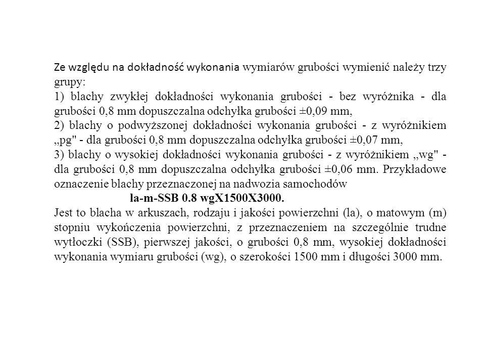 Ze względu na dokładność wykonania wymiarów grubości wymienić należy trzy grupy: 1) blachy zwykłej dokładności wykonania grubości - bez wyróżnika - dl
