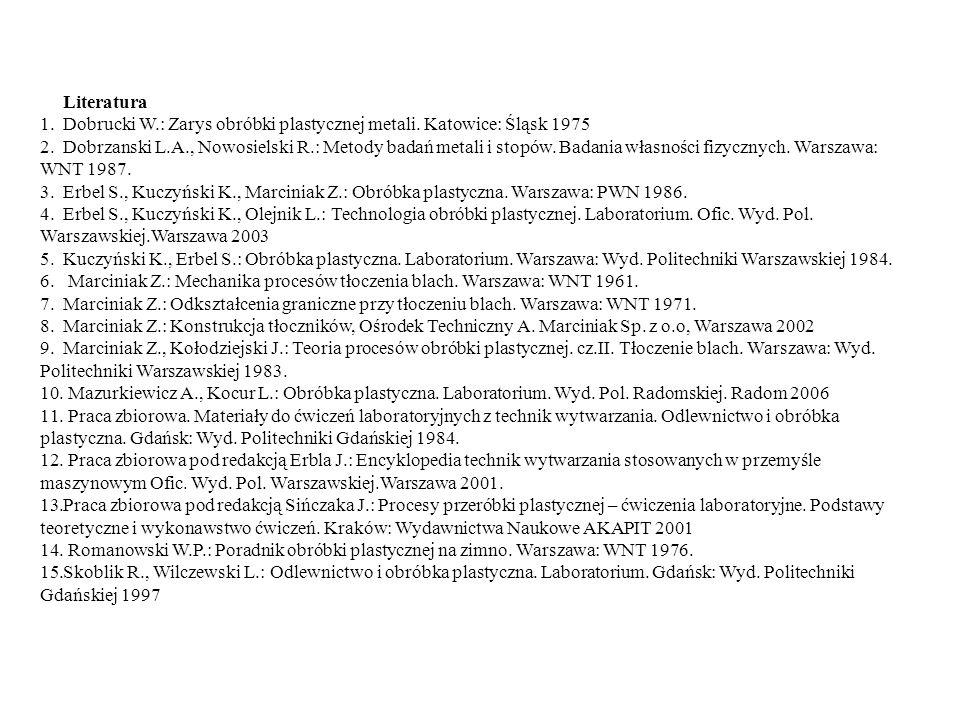 Literatura 1.Dobrucki W.: Zarys obróbki plastycznej metali. Katowice: Śląsk 1975 2.Dobrzanski L.A., Nowosielski R.: Metody badań metali i stopów. Bada
