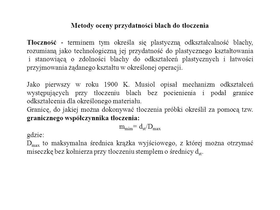 Metody oceny przydatności blach do tłoczenia Tłoczność - terminem tym określa się plastyczną odkształcalność blachy, rozumianą jako technologiczną jej