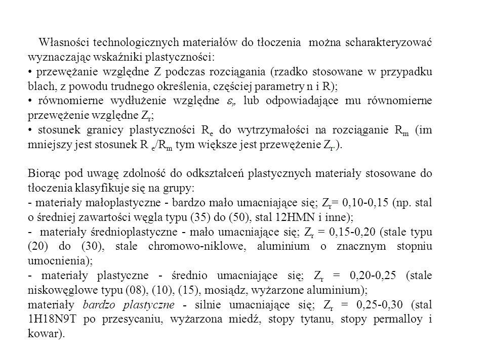 Tablica 1 Przykłady technologicznego zastosowania blachy stalowej i jej własności mechaniczne [3] Zastosowanie Wytrzymałość na rozciąganie R m (MPa) max Wydłużenie A O (%) min Twardość HB max Głębokość wytłoczenia (tłoczność wg Erichsena) (mm) min Wykrawanie płaskich przedmiotów650l -584-966-7 Wykrawanie, proste gięcie pod kątem 90° w poprzek włókien z dużym promieniem gięcia (r>29) 5004-1475-857-8 Płytkie ciągnieni i wygniatanie.
