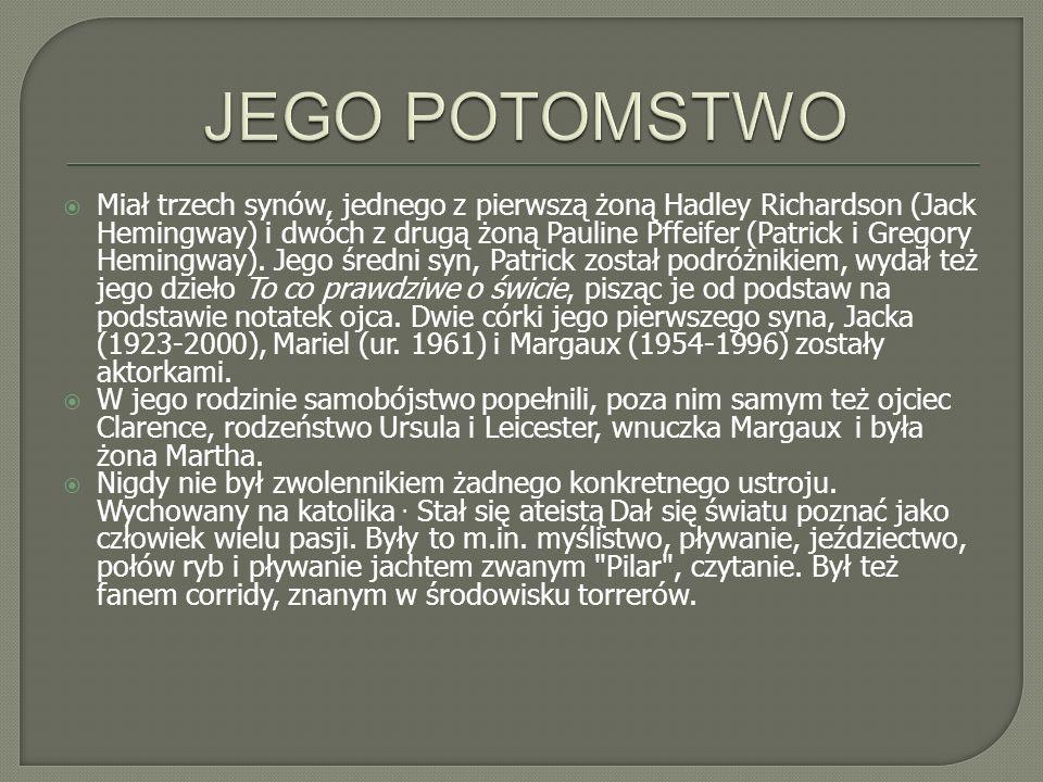 Wi ę kszo ść dzie ł Hemingwaya przet ł umaczy ł na j ę zyk polski Bronis ł aw Zieli ń ski, przyjaciel autora.