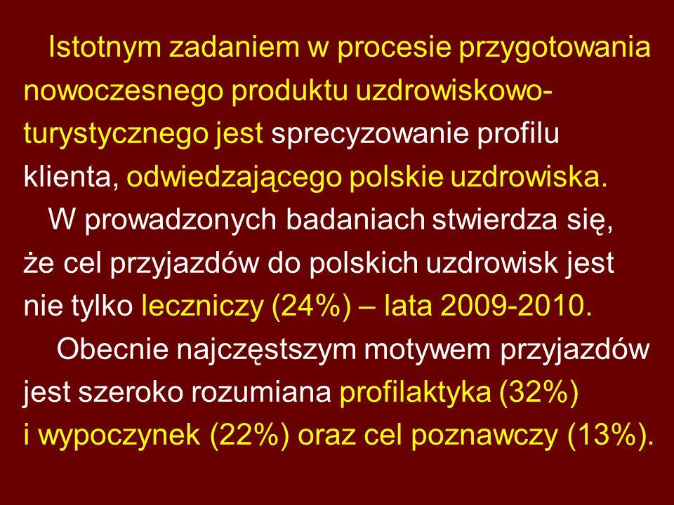 Istotnym zadaniem w procesie przygotowania nowoczesnego produktu uzdrowiskowo- turystycznego jest sprecyzowanie profilu klienta, odwiedzającego polski