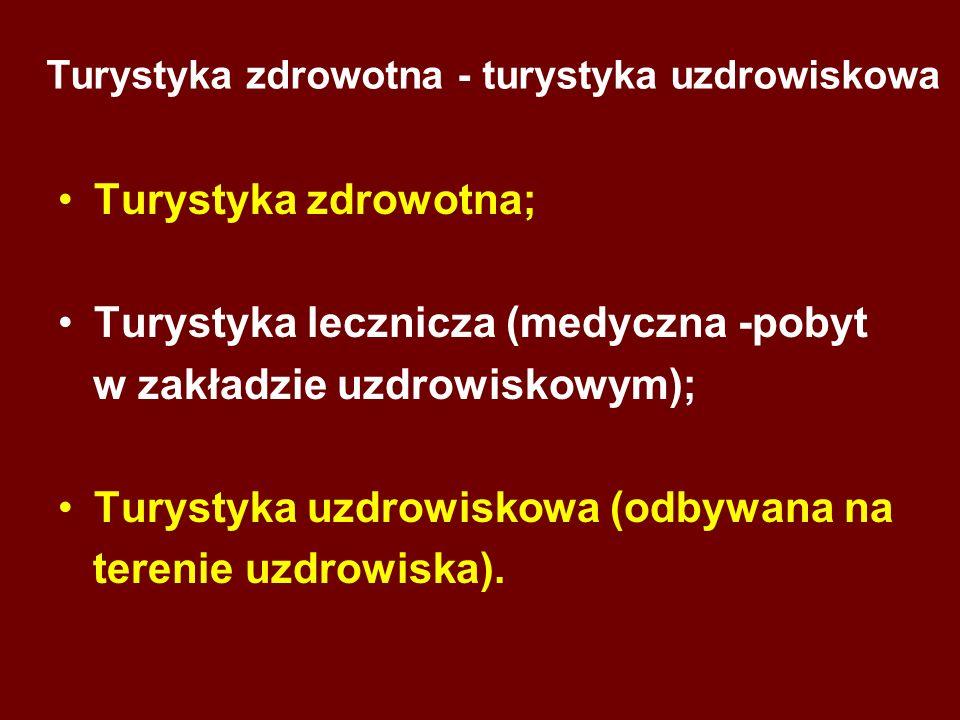 Turystyka zdrowotna - turystyka uzdrowiskowa Turystyka zdrowotna; Turystyka lecznicza (medyczna -pobyt w zakładzie uzdrowiskowym); Turystyka uzdrowisk