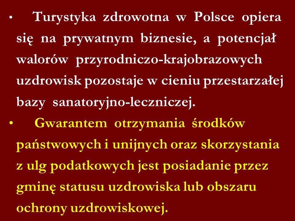 Turystyka zdrowotna w Polsce opiera się na prywatnym biznesie, a potencjał walorów przyrodniczo-krajobrazowych uzdrowisk pozostaje w cieniu przestarz