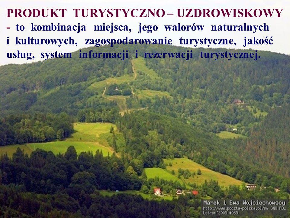 PRODUKT TURYSTYCZNO – UZDROWISKOWY - to kombinacja miejsca, jego walorów naturalnych i kulturowych, zagospodarowanie turystyczne, jakość usług, system