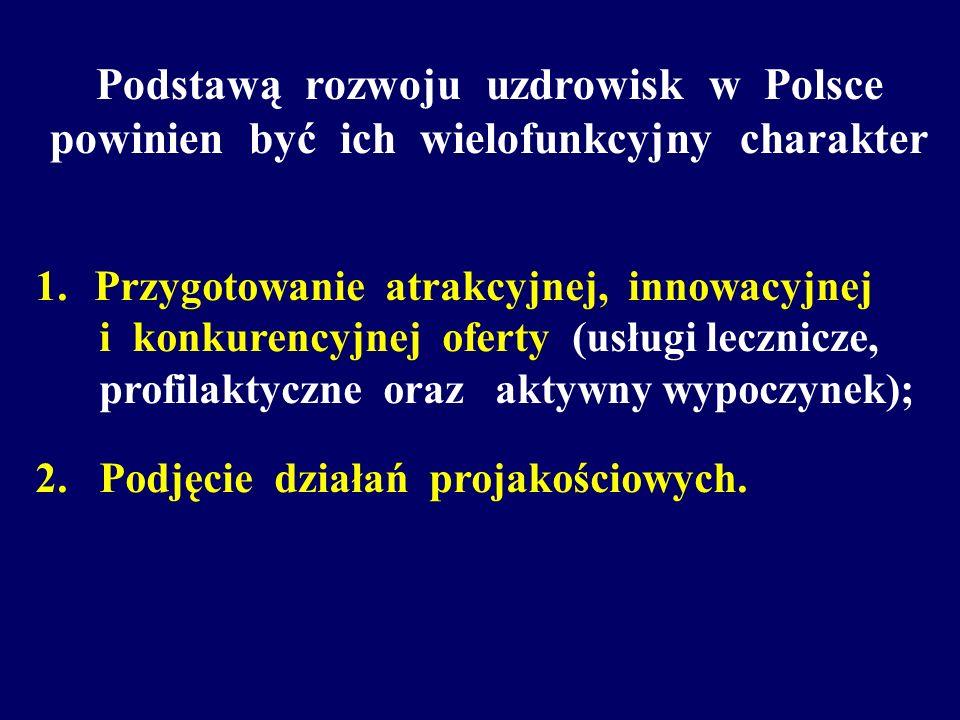 Podstawą rozwoju uzdrowisk w Polsce powinien być ich wielofunkcyjny charakter 1. Przygotowanie atrakcyjnej, innowacyjnej i konkurencyjnej oferty (usłu