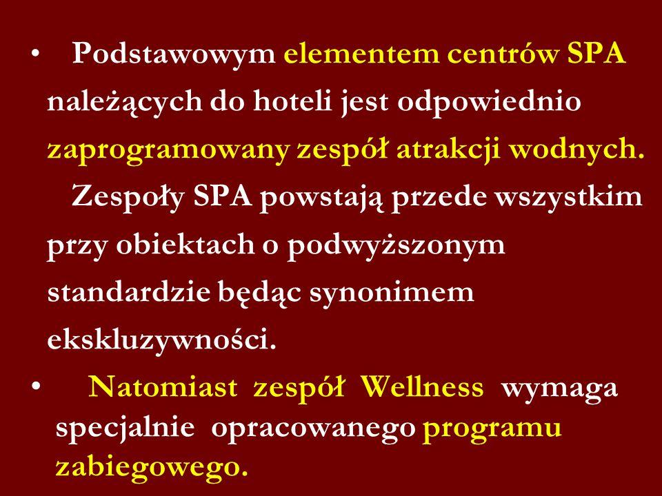 Podstawowym elementem centrów SPA należących do hoteli jest odpowiednio zaprogramowany zespół atrakcji wodnych. Zespoły SPA powstają przede wszystkim