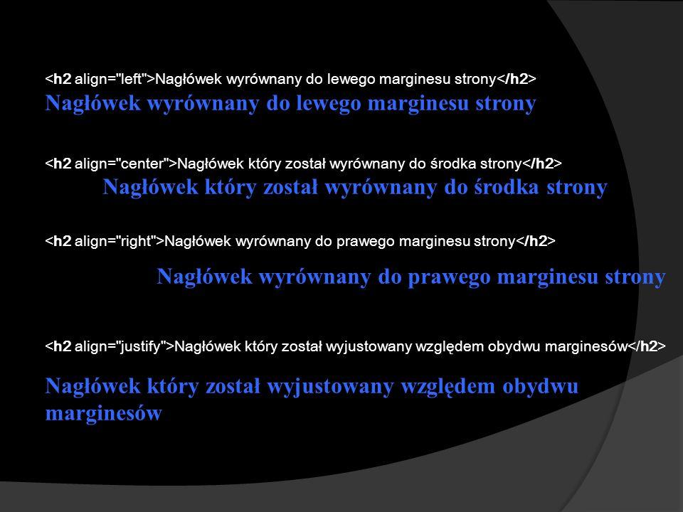 Nagłówek wyrównany do lewego marginesu strony Nagłówek który został wyrównany do środka strony Nagłówek wyrównany do prawego marginesu strony Nagłówek który został wyjustowany względem obydwu marginesów Nagłówek który został wyjustowany względem obydwu marginesów