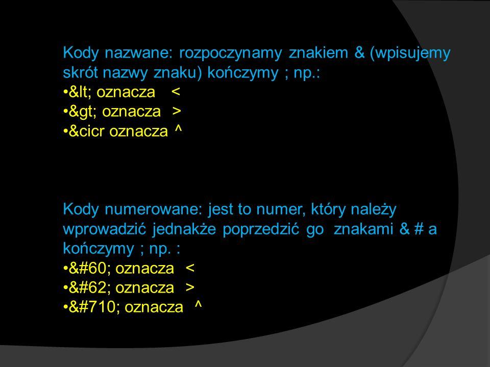 Kody nazwane: rozpoczynamy znakiem & (wpisujemy skrót nazwy znaku) kończymy ; np.: < oznacza < > oznacza > &cicr oznacza ^ Kody numerowane: jest to numer, który należy wprowadzić jednakże poprzedzić go znakami & # a kończymy ; np.
