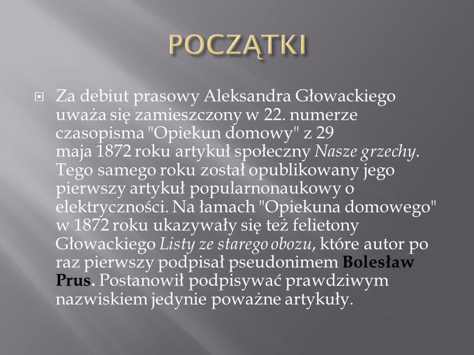 Za debiut prasowy Aleksandra Głowackiego uważa się zamieszczony w 22. numerze czasopisma