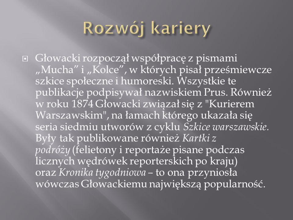 Głowacki rozpoczął współpracę z pismami Mucha i Kolce, w których pisał prześmiewcze szkice społeczne i humoreski. Wszystkie te publikacje podpisywał n