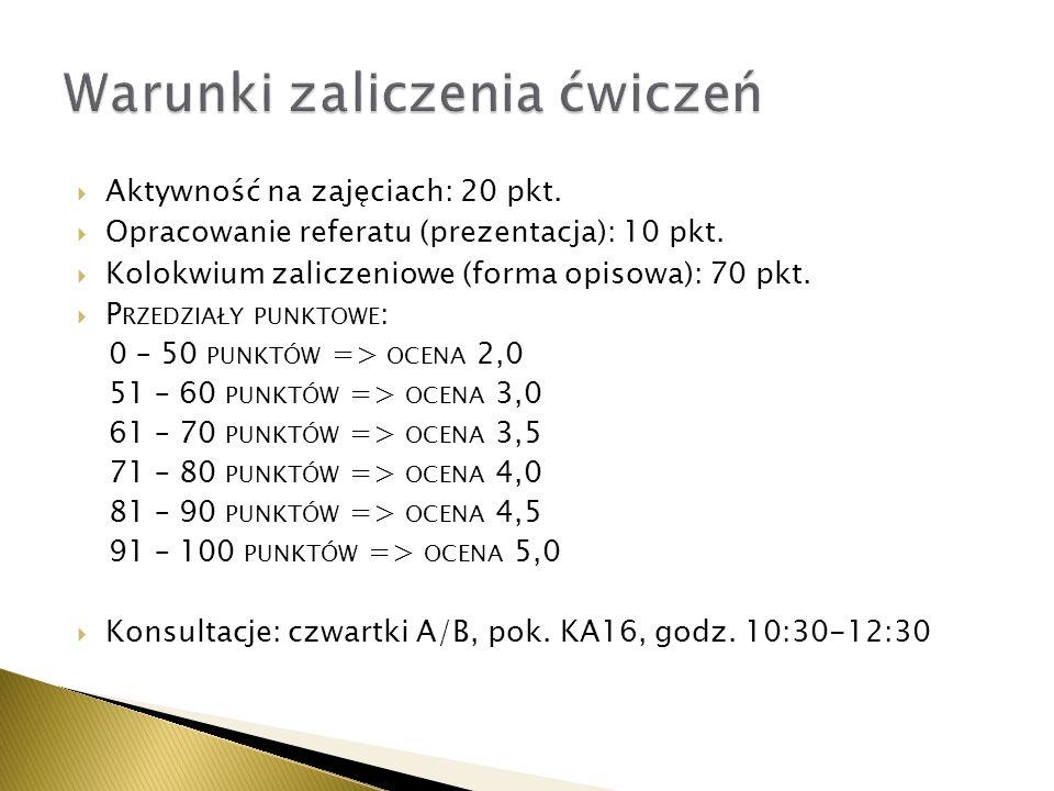 Aktywność na zajęciach: 20 pkt. Opracowanie referatu (prezentacja): 10 pkt. Kolokwium zaliczeniowe (forma opisowa): 70 pkt. P RZEDZIAŁY PUNKTOWE : 0 –
