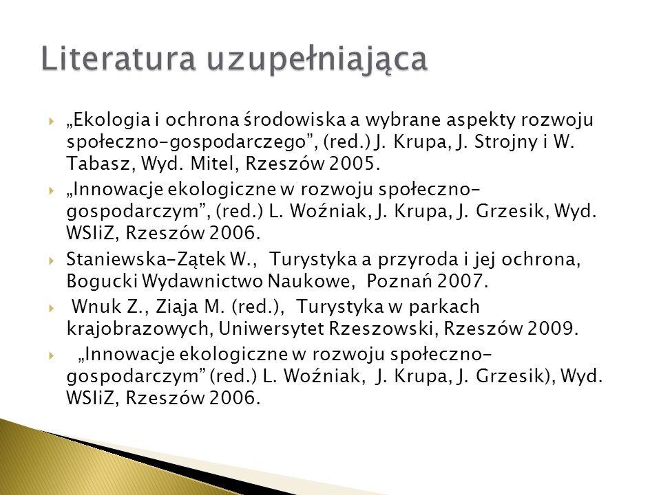 Ekologia i ochrona środowiska a wybrane aspekty rozwoju społeczno-gospodarczego, (red.) J. Krupa, J. Strojny i W. Tabasz, Wyd. Mitel, Rzeszów 2005. In