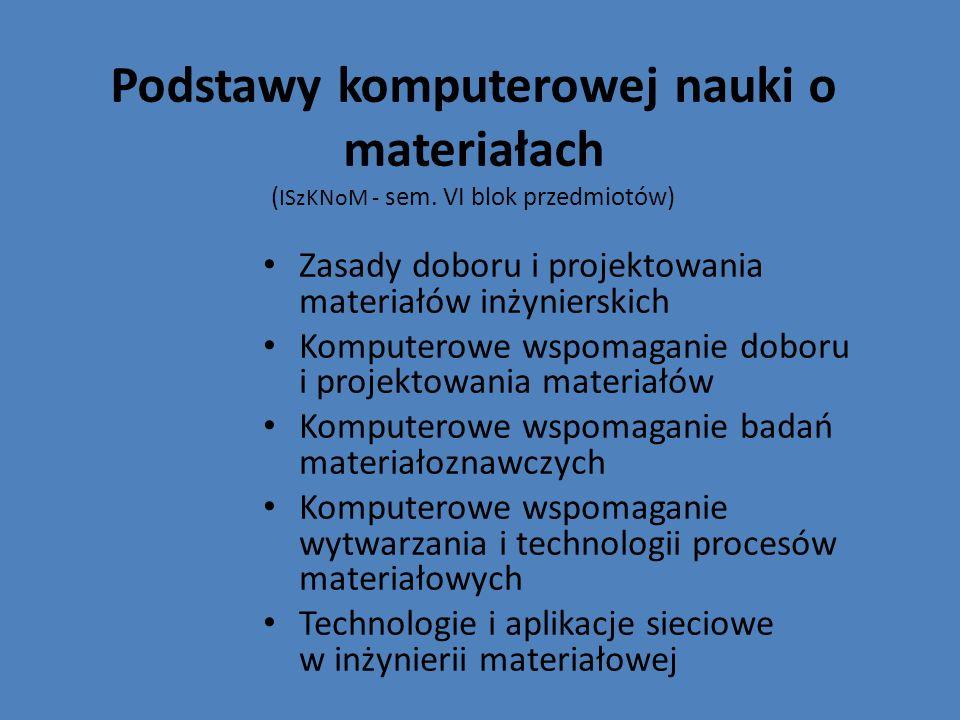 Podstawy komputerowej nauki o materiałach ( ISzKNoM - sem. VI blok przedmiotów) Zasady doboru i projektowania materiałów inżynierskich Komputerowe wsp