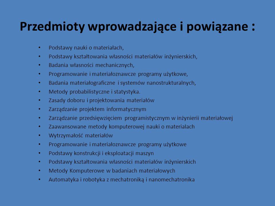 Przedmioty wprowadzające i powiązane : Podstawy nauki o materiałach, Podstawy kształtowania własności materiałów inżynierskich, Badania własności mech